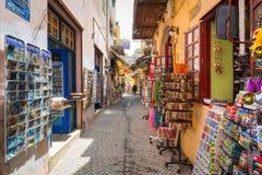 Рестораны на улице Chania на Крите, Греции Стоковое Фото