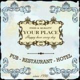 Ресторан, вино, ярлык гостиницы ретро Стоковое Изображение RF