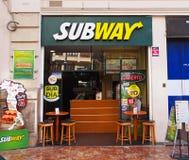 Ресторан в Валенсии, Испания фаст-фуда метро подземка Стоковые Изображения RF