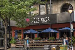 Ресторан в Монреале небольшой Италии стоковые фотографии rf