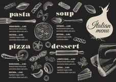 Ресторан меню итальянский, placemat шаблона еды Стоковое Изображение