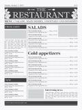 ресторан меню конструкции Стоковое Изображение RF