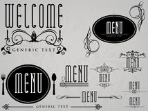 ресторан меню элементов кафа каллиграфический Иллюстрация штока