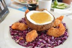 Ресторан морепродуктов - креветка кокоса стоковая фотография rf