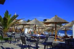 Ресторан на пляже, Budva, Черногория Стоковые Фото