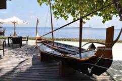 Ресторан островного курорта Мальдивов Стоковые Фотографии RF