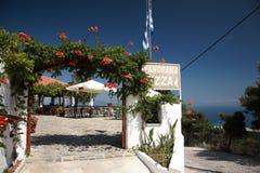 Ресторан пиццы панорамы Skiathos известный стоковые фотографии rf