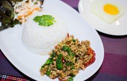 Ресторан Таиланд базилика риса Стоковое Изображение RF