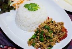 Ресторан Таиланд базилика риса Стоковая Фотография