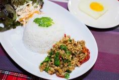 Ресторан Таиланд базилика риса Стоковые Фото