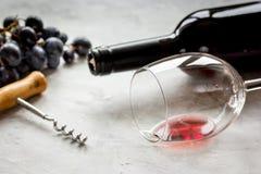 Ресторан установил с бутылкой и виноградиной вина на каменной предпосылке Стоковая Фотография RF