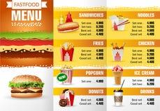 Ресторан фаст-фуда меню дизайна иллюстрации вектора Стоковая Фотография