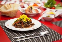 Ресторан фото таблицы мяса еды снял 2 Стоковые Изображения RF
