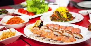 Ресторан 4 фото таблицы мяса еды Стоковые Изображения