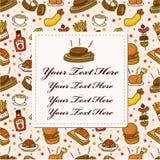 ресторан шаржа карточки Стоковые Изображения