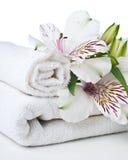 Ресурсы для спы, белого полотенца и цветка Стоковое Фото