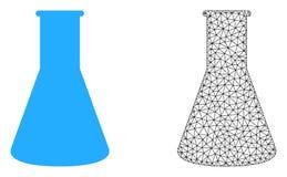 Реторта 2D сетки вектора химическая и плоский значок иллюстрация вектора