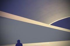 Ретро абстрактная предпосылка с силуэтом человека в шляпе Стоковая Фотография RF