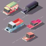 Ретро автомобили двигая дальше вектор шоссе равновеликий иллюстрация штока