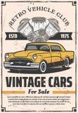 Ретро автомобили продажа, прокат и ремонтные услуги иллюстрация штока