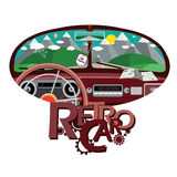 Ретро автомобиль в переднем зеркале иллюстрация штока