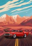 Ретро американский плакат автомобиля мышцы стоковые фотографии rf