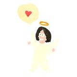 ретро ангел шаржа с пузырем речи Стоковые Изображения