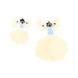ретро ангелы шаржа на облаке Стоковое Фото