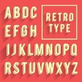 Ретро алфавит плаката Ретро шрифт с тенью Латинский алфавит le Стоковые Изображения