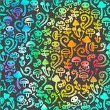ретро Безшовный шарж voodoo картины с черепом Стоковое фото RF