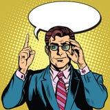 Ретро бизнесмен говорит иллюстрация вектора