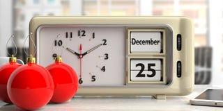 Ретро будильник с датой рождества, 25-ое декабря и красными шариками рождества на столе иллюстрация 3d иллюстрация вектора