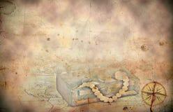 Ретро введенная в моду предпосылка карты сокровища стоковое фото rf