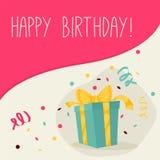 Ретро винтажная поздравительая открытка ко дню рождения с днем рождений с подарками Стоковая Фотография