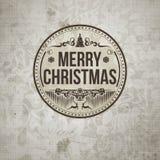 Ретро винтажная простая с Рождеством Христовым гринкарда приветствию Стоковая Фотография RF