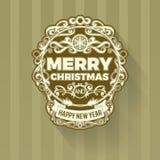 Ретро винтажная простая с Рождеством Христовым гринкарда приветствию Стоковое фото RF