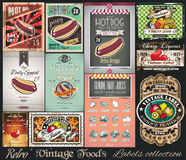 Ретро винтажное собрание ярлыков еды Малые плакаты Стоковые Изображения