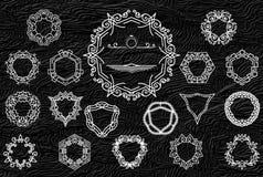 Ретро винтажные установленные рамки или логотипы Роскошные элементы дизайна для вензеля, знаков дела, логотипов, идентичности, яр иллюстрация штока