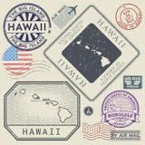 Ретро винтажные штемпеля почтового сбора установили Гаваи, Соединенные Штаты Стоковая Фотография RF