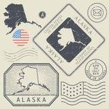 Ретро винтажные штемпеля почтового сбора установили тема Аляску, Соединенные Штаты Стоковые Фотографии RF