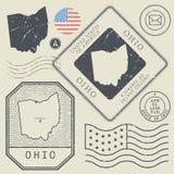 Ретро винтажные штемпеля почтового сбора установили тема Огайо, Соединенные Штаты Стоковые Фотографии RF