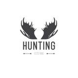Ретро винтажные Insignia или элемент дизайна вектора логотипа, шаблон знака дела Звероловство оленей Охотиться для лося Звероловс иллюстрация штока