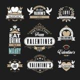 Ретро винтажные Insignias или логотипы установили на день валентинок Vec Стоковое Изображение