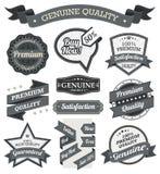 Ретро винтажный значок, ярлык и комплект знамени Стоковое Изображение