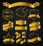 Ретро винтажный значок, ярлык и комплект знамени иллюстрация вектора