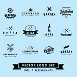 Ретро винтажный комплект логотипа вектора ресторана битника стоковые фотографии rf