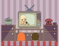 Ретро выставка ТВ вахты людей Иллюстрация внутри Стоковая Фотография