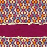 Ретро геометрическая сорванная бумажная карточка Стоковые Фотографии RF