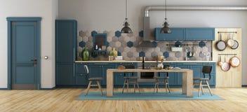Ретро голубая кухня бесплатная иллюстрация