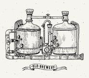 Ретро гравировка винзавода Медные танки и несутся пиво винзавода Местный винзавод Винтажная иллюстрация гравировки вектора иллюстрация вектора